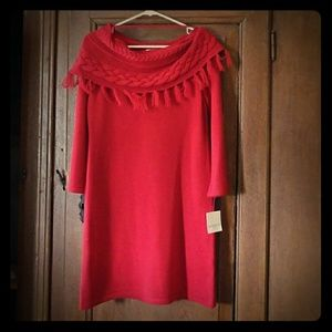 Holly Red Sweater Dress with Woven Cowl